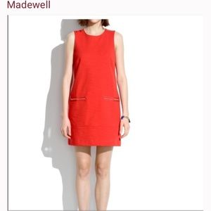 Madwell red sleeves zip shift dress size M